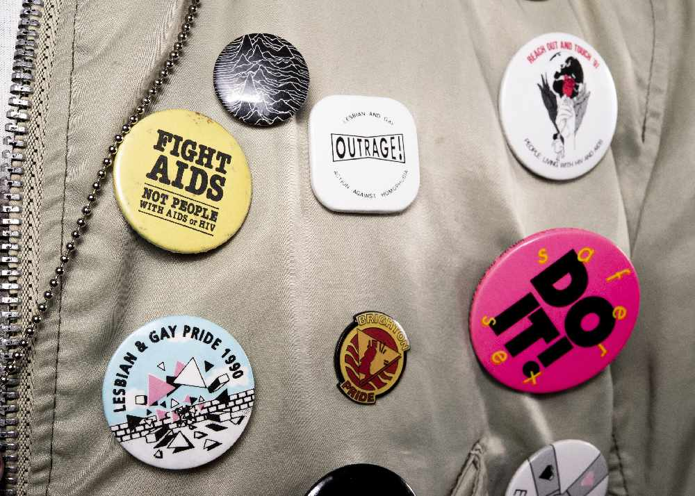 Campaign badges worn by marchers across the South East, c1980s, on loan from Alf Le Flohic - Queer The Pier  - Photgrapher: Zoltan Borovics