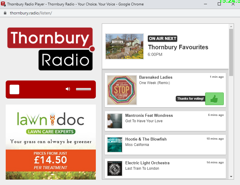 Thornbury Radio Website player