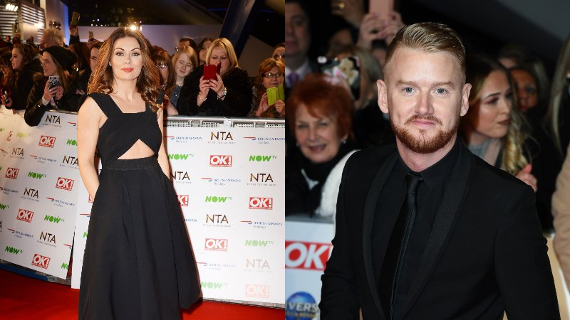 Alison King and Mikey North photographed separately on the National Television Awards red carpet