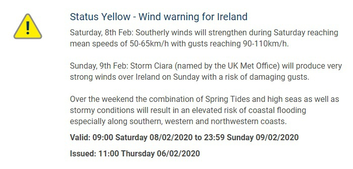 The Met Eireann yellow wind warning, as featured on their website
