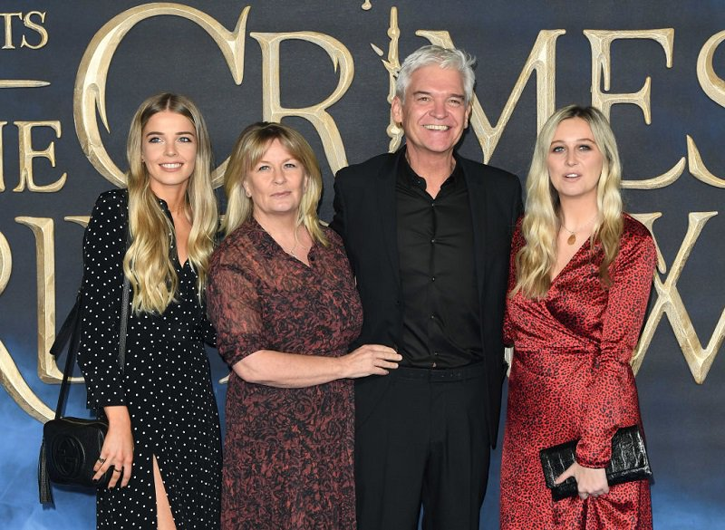Phillip Schofield pictured with his wife Steph and two daughters.