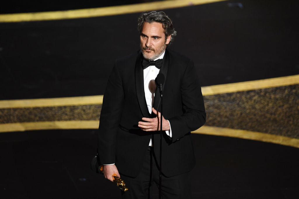 Joaquin Phoenix accepts the award for Best Actor for his performance in Joker