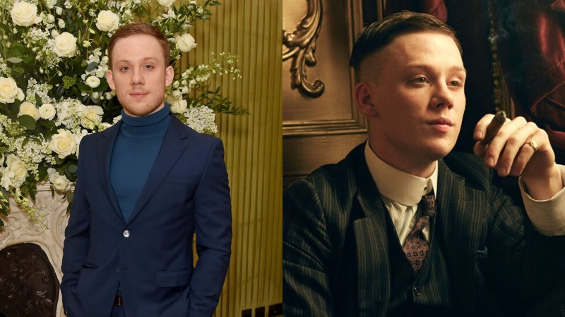 Actor Joe Cole beside an image of him in character as John Shelby in Peaky Blinders