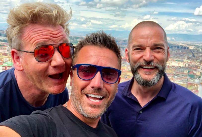 Gino D'Acampo, Gordon Ramsat and Fred Sireix post for a photo together during filming