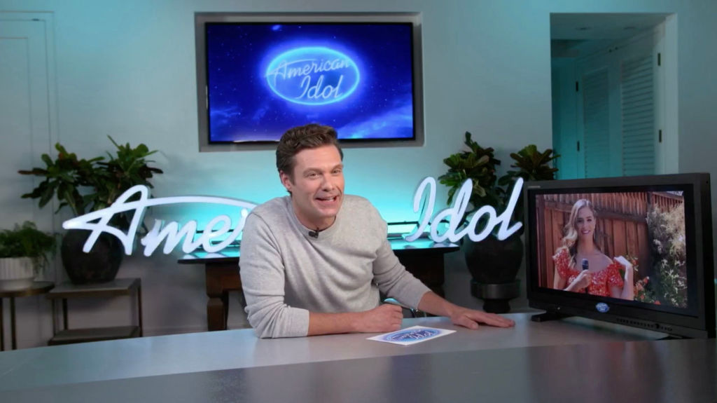 Ryan Seacrest hosting American Idol live from his home