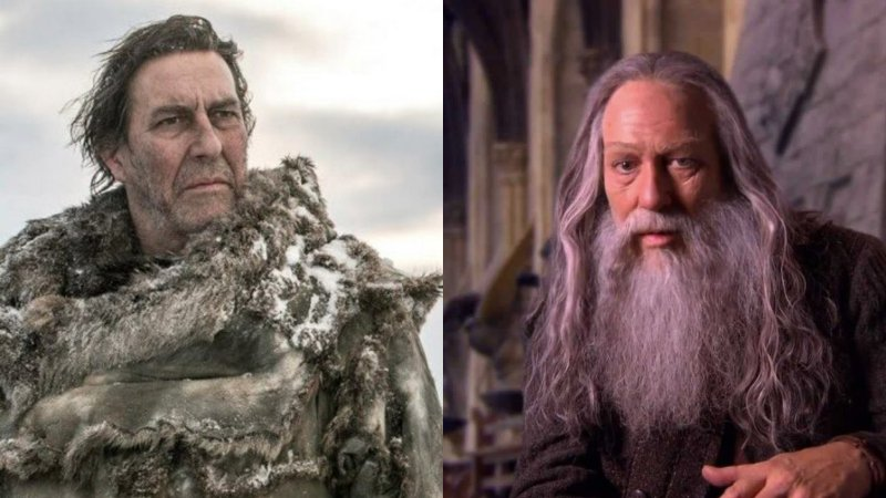 Ciaran Hinds as Mance Rayder in Game of Thrones and Aberforth Dumbledore in Harry Potter