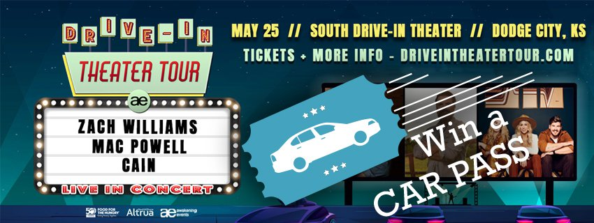 Win Car Passes For Zach Williams, Cain, Mac Powell