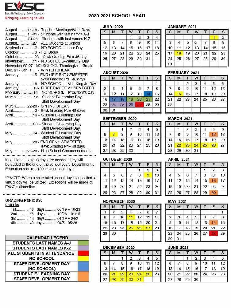 EVSC Calendar Changes   90.7 WPSR