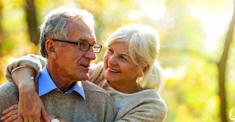 Retired couple stock