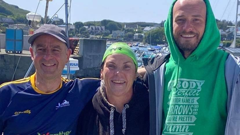 LISTEN BACK: Ray speaks to cold water swimmer Elaine Burrows Dillane who completed one of the world's hardest swims